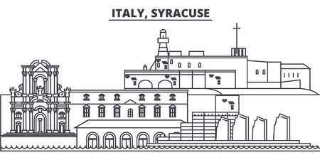 Italy, Syracuse line skyline vector illustration. Italy, Syracuse linear cityscape with famous landmarks, city sights, vector design landscape. Ilustração