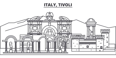 Italy, Tivoli line skyline vector illustration. Italy, Tivoli linear cityscape with famous landmarks, city sights, vector design landscape.