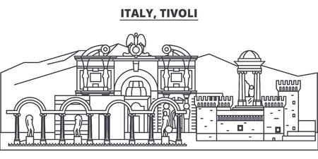 Italy, Tivoli line skyline vector illustration. Italy, Tivoli linear cityscape with famous landmarks, city sights, vector design landscape.