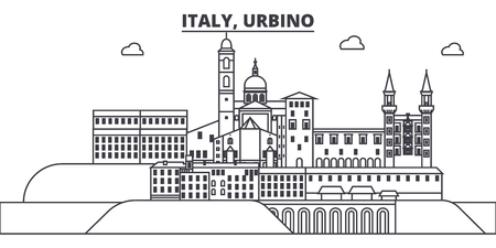 Italy, Urbino line skyline vector illustration. Italy, Urbino linear cityscape with famous landmarks, city sights, vector design landscape.  イラスト・ベクター素材