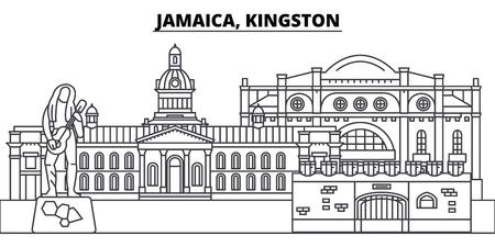 Jamaica, Kingston line skyline vector illustration. Jamaica, Kingston linear cityscape with famous landmarks, city sights, vector design landscape. Illustration
