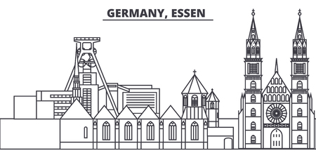Germany, Lessen line skyline vector illustration. Germany, Lessen linear cityscape with famous landmarks, city sights, vector design landscape. Illusztráció