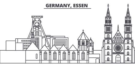 Germany, Lessen line skyline vector illustration. Germany, Lessen linear cityscape with famous landmarks, city sights, vector design landscape. Illustration