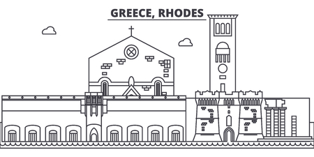 Greece, Rhodes line skyline vector illustration. Greece, Rhodes linear cityscape with famous landmarks, city sights, vector design landscape.