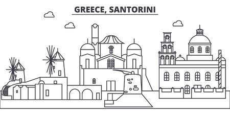Greece, Santorini line skyline vector illustration. Greece, Santorini linear cityscape with famous landmarks, city sights, vector design landscape. Çizim