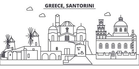 Greece, Santorini line skyline vector illustration. Greece, Santorini linear cityscape with famous landmarks, city sights, vector design landscape. Illustration