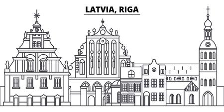 Letland, Riga lijn skyline vectorillustratie. Letland, Riga lineaire stadsgezicht met beroemde bezienswaardigheden, stadsgezichten, vector design landschap.