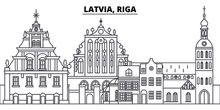 Latvia, Riga line skyline vector illustration. Latvia, Riga linear cityscape with famous landmarks, city sights, vector design landscape.