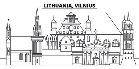 Lithuania, Vilnius line skyline vector illustration. Lithuania, Vilnius linear cityscape with famous landmarks, city sights, vector design landscape. Illustration
