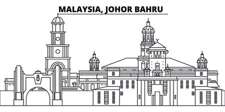 Malaysia, Johor Bahru line skyline vector illustration. Malaysia, Johor Bahru linear cityscape with famous landmarks, city sights, vector design landscape.