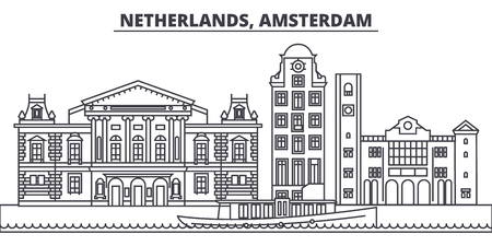 Netherlands, Amsterdam line skyline vector illustration. Netherlands, Amsterdam linear cityscape with famous landmarks, city sights, vector design landscape.