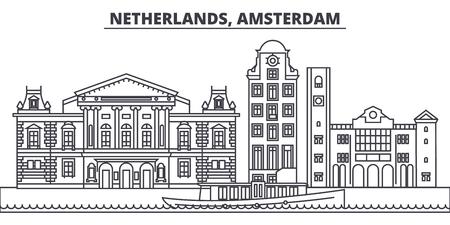Netherlands, Amsterdam line skyline vector illustration. Netherlands, Amsterdam linear cityscape with famous landmarks, city sights, vector design landscape.