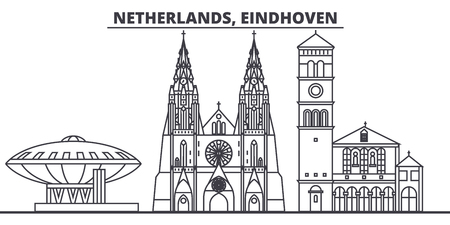 Netherlands, Eindhoven line skyline vector illustration. Netherlands, Eindhoven linear cityscape with famous landmarks, city sights, vector design landscape. Illustration