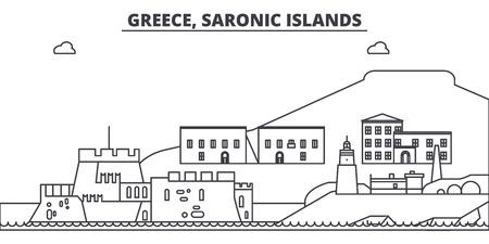 Greece, Saronic Islands line skyline vector illustration. Greece, Saronic Islands linear cityscape with famous landmarks, city sights, vector design landscape. Çizim