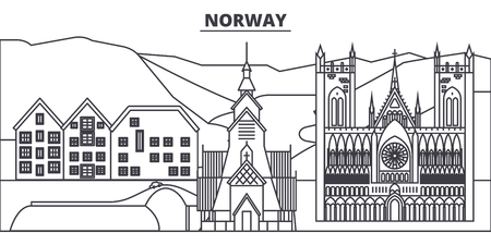 Norway line skyline vector illustration. Norway linear cityscape with famous landmarks, city sights, vector design landscape.
