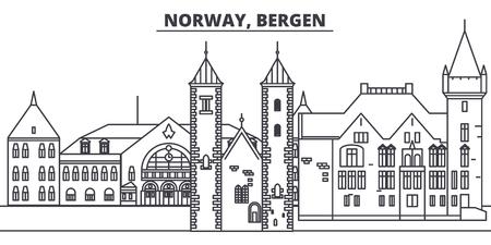 Norvegia, Bergen skyline di linea illustrazione vettoriale. Norvegia, paesaggio urbano lineare di Bergen con famosi monumenti, attrazioni della città, paesaggio di disegno vettoriale.
