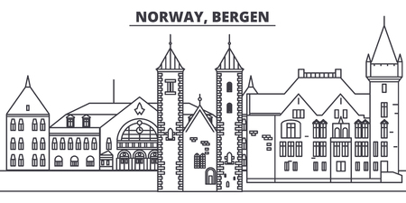 Norway, Bergen line skyline vector illustration. Norway, Bergen linear cityscape with famous landmarks, city sights, vector design landscape.