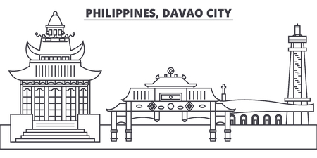 Philippines, Davao City line skyline vector illustration. Philippines, Davao City linear cityscape with famous landmarks, city sights, vector design landscape.  イラスト・ベクター素材