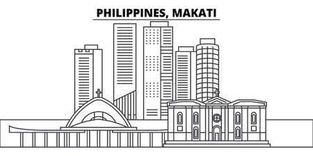 Philippines, Makati line skyline vector illustration. Philippines, Makati linear cityscape with famous landmarks, city sights, vector design landscape. Stock Illustratie