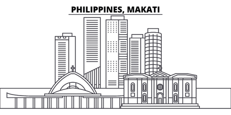 Philippines, Makati line skyline vector illustration. Philippines, Makati linear cityscape with famous landmarks, city sights, vector design landscape. Illustration