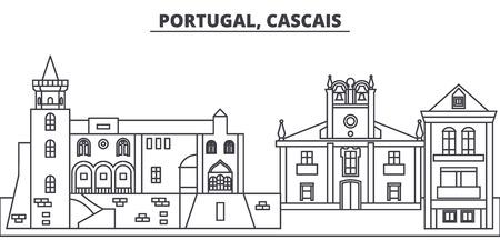 Portugal, Cascais line skyline vector illustration. Portugal, Cascais linear cityscape with famous landmarks, city sights, vector design landscape.