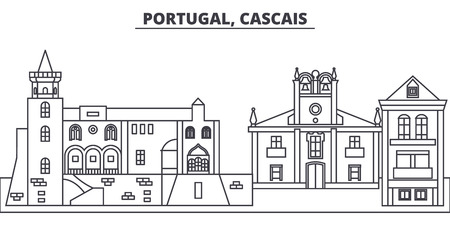Portugal, Cascais line skyline vector illustration. Portugal, Cascais linear cityscape with famous landmarks, city sights, vector design landscape.