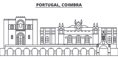 Portugal, Coimbra line skyline vector illustration. Portugal, Coimbra linear cityscape with famous landmarks, city sights, vector design landscape. Reklamní fotografie - 101996210