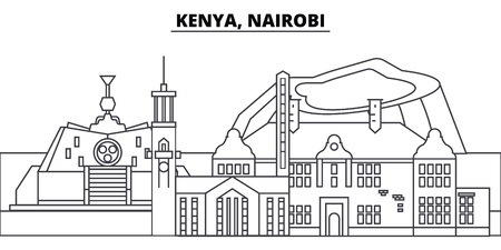 Kenya, Nairobi line skyline vector illustration. Kenya, Nairobi linear cityscape with famous landmarks, city sights, vector design landscape.