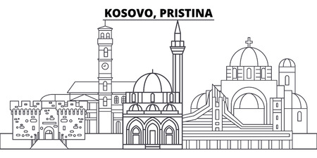 Kosovo, Pristina line skyline vector illustration. Kosovo, Pristina linear cityscape with famous landmarks, city sights, vector design landscape. Stok Fotoğraf - 101976247
