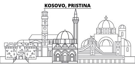 Kosovo, Pristina line skyline vector illustration. Kosovo, Pristina linear cityscape with famous landmarks, city sights, vector design landscape.