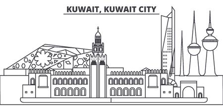 Kuwait, Kuwait City line skyline vector illustration. Kuwait, Kuwait City linear cityscape with famous landmarks, city sights, vector design landscape. Illustration