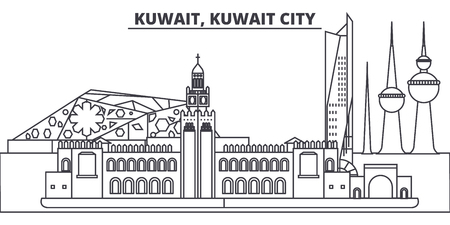 Kuwait, Kuwait City line skyline vector illustration. Kuwait, Kuwait City linear cityscape with famous landmarks, city sights, vector design landscape.