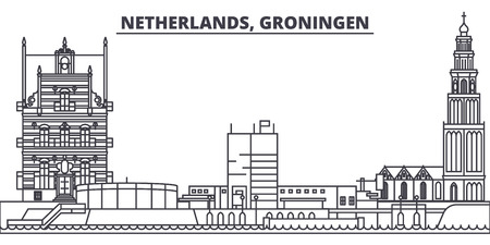 Netherlands, Groningen line skyline vector illustration. Netherlands, Groningen linear cityscape with famous landmarks, city sights, vector design landscape.