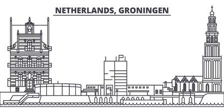 Netherlands, Groningen line skyline vector illustration. Netherlands, Groningen linear cityscape with famous landmarks, city sights, vector design landscape.