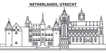 Netherlands, Utrecht line skyline vector illustration. Netherlands, Utrecht linear cityscape with famous landmarks, city sights, vector design landscape.