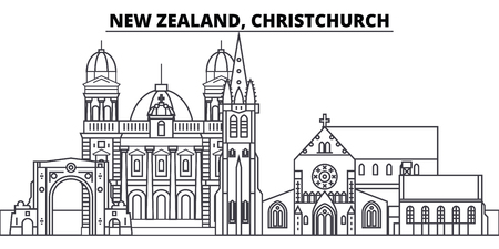 Neuseeland, Christchurch Linie Skyline Vektor-Illustration. Lineares Stadtbild von Neuseeland, Christchurch mit berühmten Wahrzeichen, Sehenswürdigkeiten der Stadt, Vektorentwurfslandschaft.