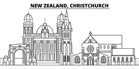 Nueva Zelanda, ilustración de vector de horizonte de línea de Christchurch. Nueva Zelanda, paisaje urbano lineal de Christchurch con monumentos famosos, monumentos de la ciudad, paisaje de diseño vectorial.