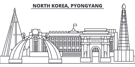 North Korea, Pyongyang line skyline vector illustration. North Korea, Pyongyang linear cityscape with famous landmarks, city sights, vector design landscape.