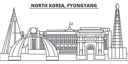 North Korea, Pyongyang line skyline vector illustration. North Korea, Pyongyang linear cityscape with famous landmarks, city sights, vector design landscape.