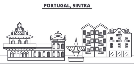 Portugal, Sintra line skyline vector illustration. Portugal, Sintra linear cityscape with famous landmarks, city sights, vector design landscape. Stock Illustratie