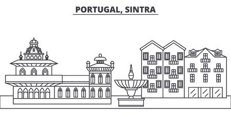 Portugal, Sintra line skyline vector illustration. Portugal, Sintra linear cityscape with famous landmarks, city sights, vector design landscape. 일러스트