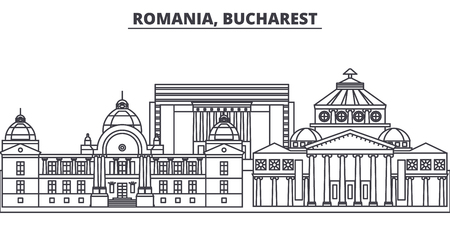 Romania, Bucharest line skyline vector illustration. Romania, Bucharest linear cityscape with famous landmarks, city sights, vector design landscape. 스톡 콘텐츠 - 102032420