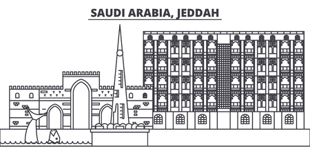 Saudi Arabia, Jeddah line skyline vector illustration. Saudi Arabia, Jeddah linear cityscape with famous landmarks, city sights, vector design landscape.