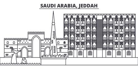 Saudi Arabia, Jeddah line skyline vector illustration. Saudi Arabia, Jeddah linear cityscape with famous landmarks, city sights, vector design landscape.