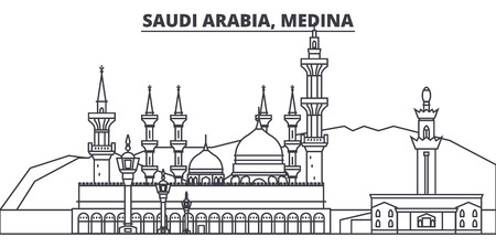 Saudi Arabia, Medina line skyline vector illustration. Saudi Arabia, Medina linear cityscape with famous landmarks, city sights, vector design landscape. Illustration