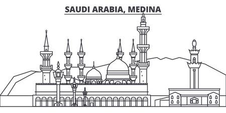 Saudi Arabia, Medina line skyline vector illustration. Saudi Arabia, Medina linear cityscape with famous landmarks, city sights, vector design landscape.  イラスト・ベクター素材
