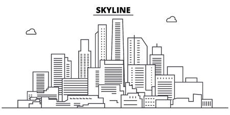 Skyline line skyline vector illustration. Skyline linear cityscape with famous landmarks, city sights, vector design landscape.