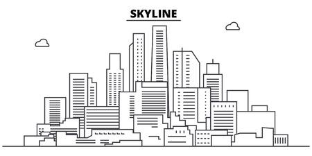 Skyline line skyline vector illustration. Skyline linear cityscape with famous landmarks, city sights, vector design landscape.