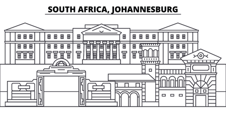 South Africa, Johannesburg line skyline vector illustration. South Africa, Johannesburg linear cityscape with famous landmarks, city sights, vector design landscape. Banco de Imagens - 102032422