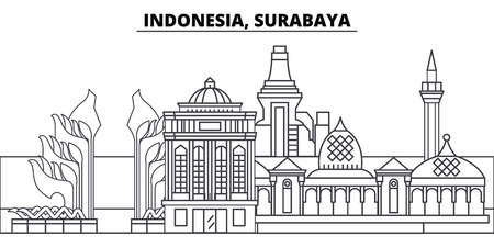 Indonesia, Surabaya line skyline vector illustration. Indonesia, Surabaya linear cityscape with famous landmarks, city sights, vector design landscape.